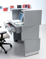 Empfangstresen Cube Rückseite, Arbeitsplatte höhenverstellbar, mit Kassenschublade