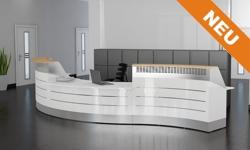 hochwertige Empfangstheke Madrid mit Aluminium und Holzdekor