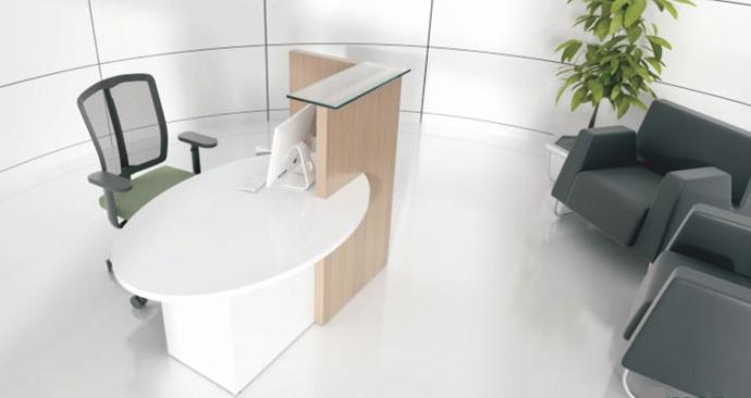 Empfangstheke OVO, perfekt als Einzelplatz- oder Beraterlösung für Kosmetikstudios und vielen weiteren Einsatzmöglichkeiten