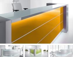 Empfangstresen Serie VALE mit LED-Beleuchtung und Hochglanz Front, viele verschiedene Faben erhältlich