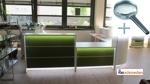 Empfangstheke Lunis in Hochglanz grün mit LED-Beleuchtung